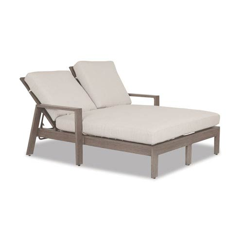 Laguna Double Chaise Lounge with Cushions in Canvas Flax with Self Welt