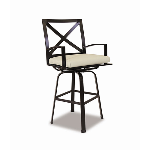 Sunset West La Jolla Swivel Barstool With Cushions In Canvas Flax With Self Welt