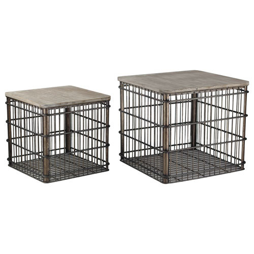 Metal Baskets with Wood Lid, Set of Two