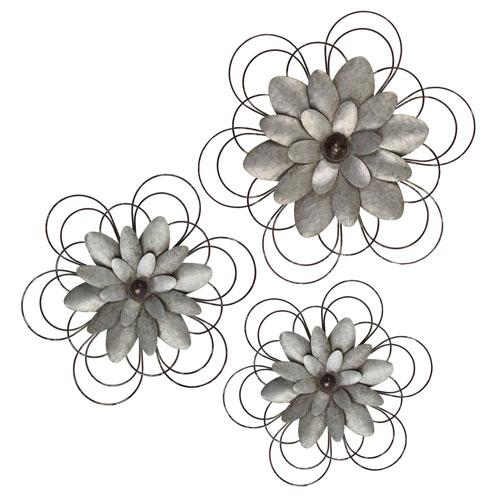 Metal Wall Flowers, Set of Three