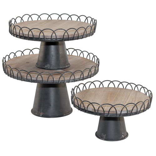 Metal and Wood Risers, Set of Three
