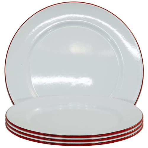 Metal Enamelware Red Dinner Four-Piece Plate Set