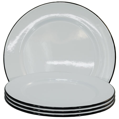 Metal Enamelware Black Dinner Four-Piece Plate Set