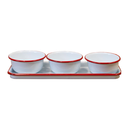 Metal Enamelware Red Bowls with Tray