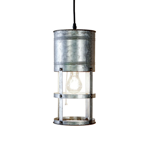 Metal One-Light Round Pendant
