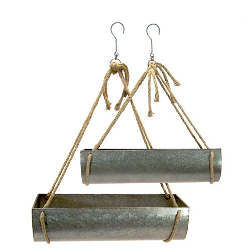 Metal Hanging Planters, Set of Two