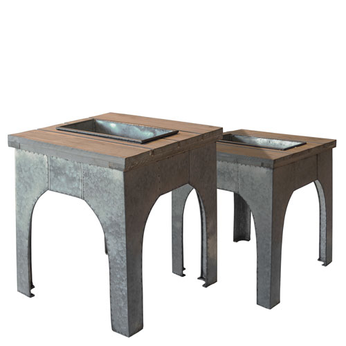 Wood and Metal Table, Set of Two
