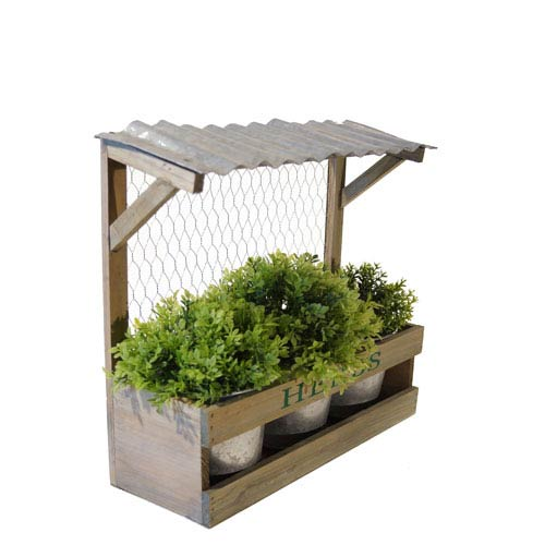 Planter Box With Three Pots