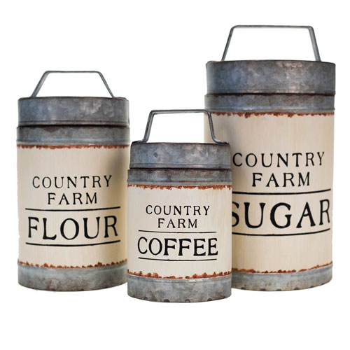 Metal Canisters, Set of Three