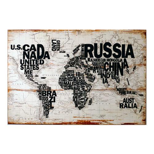 Wood World Map Wall Art