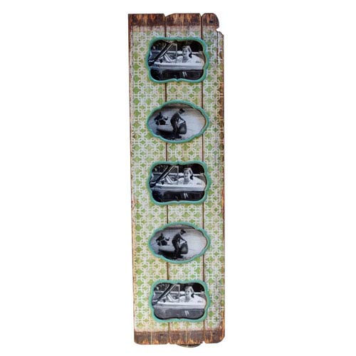 Wood Verticle 5 Picture Frame Grn