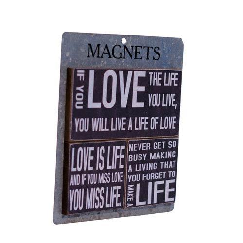 Wood Magnets  Set Of Three Love