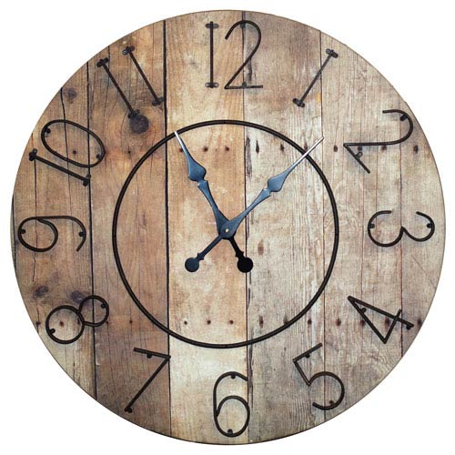 Wood 32 Clock W/ Metal Numbers