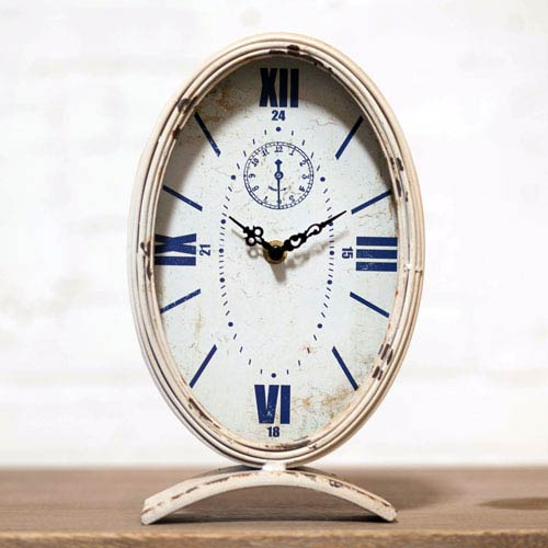 Metal Table Clock Oval White