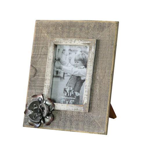 Wood Picture Frame with Flower