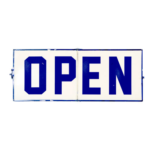 Blue Metal Open/Closed Sign