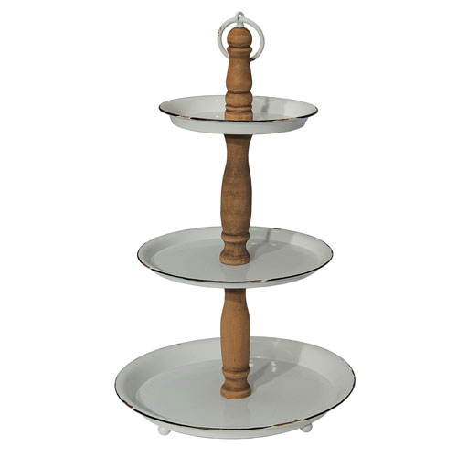 Metal and Wood Three-Tier Holder