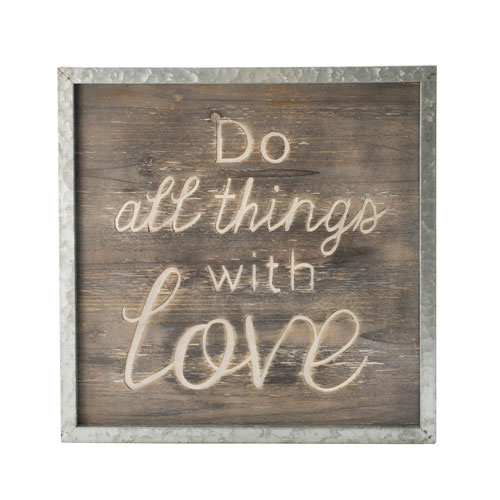 All Things with Love Wood Sign