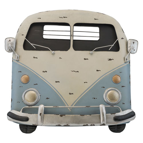 Blue and Ivory Metal Van Wall Decor