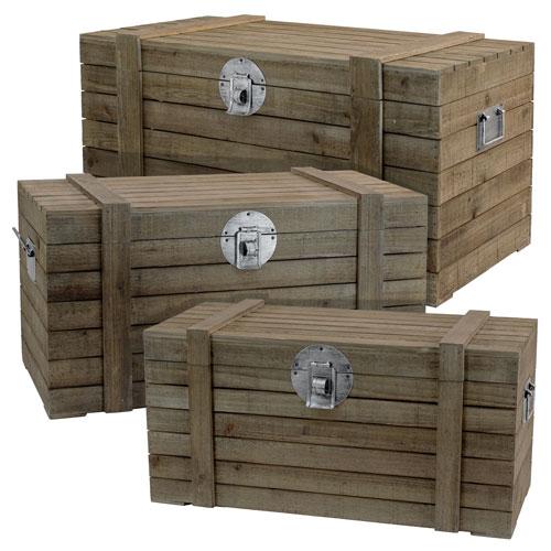Wood Trunks, Set of Three
