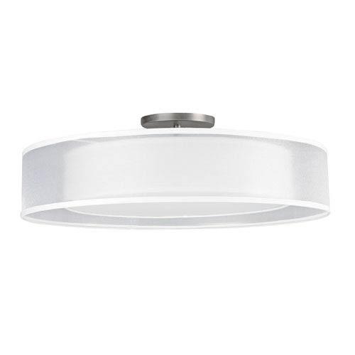AFX Satin Nickel White Bottom Acrylic Four-Light Semi-Flush Ceiling Mount Fixture