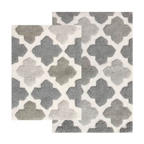 Chesapeake Merchandising Alloy Gray Moroccan Tiles Two Piece Bath Rug Set