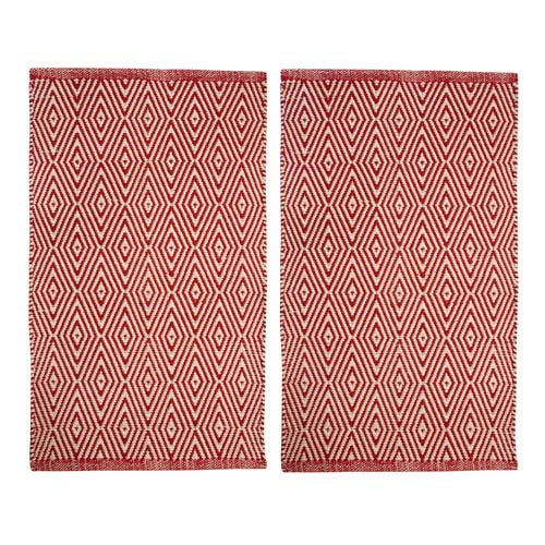 Portland Diamond Red Rectangular: 1 Ft. 9 Inch x 2 Ft. 8-Inch Rug, Set of Two