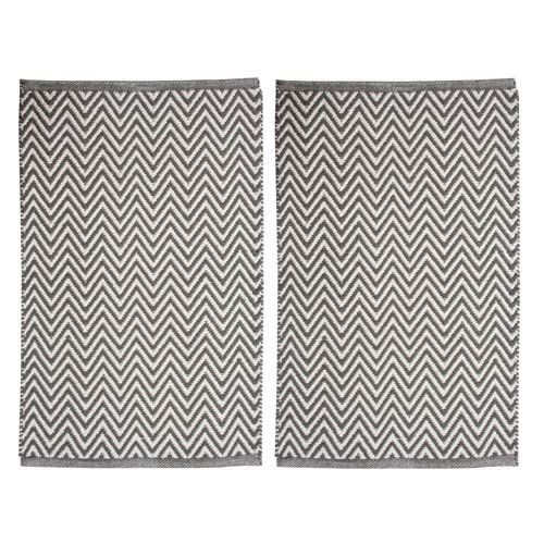 Portland Chevron Gray Rectangular: 1 Ft. 9 Inch x 2 Ft. 8-Inch Rug, Set of Two