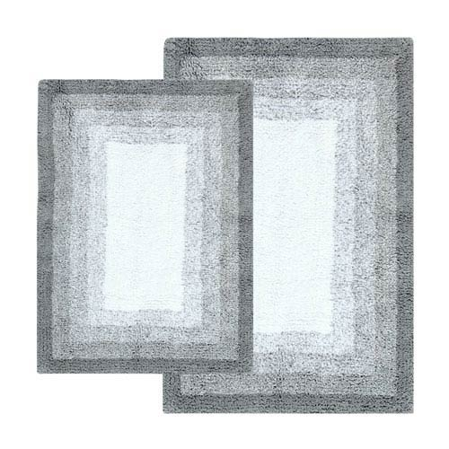 Whitney Hi Rise Gray Ombre Reversible Two-Piece Bath Rug Set