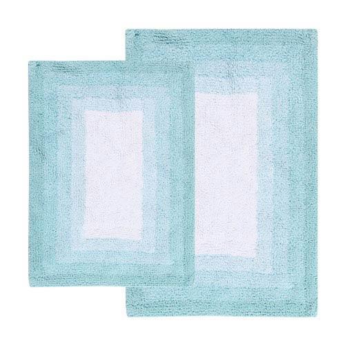 Whitney Porcelain Blue Ombre Reversible Two-Piece Bath Rug Set