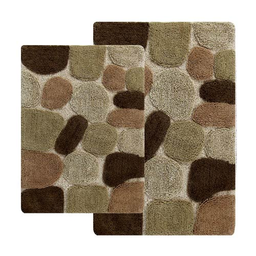 Chesapeake Merchandising Pebbles Khaki Two Piece Bath Rug Set