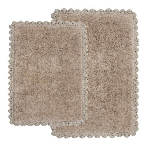 Crochet Linen Two-Piece Bath Rug Set