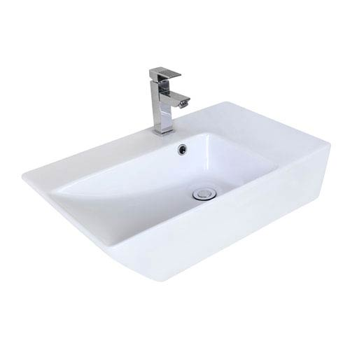 American Imaginations 25.5-in. W Above Counter White Vessel For 1 Hole Center Drilling