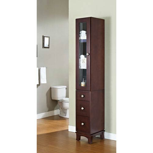 13-in. W X 82-in. H Transitional Birch Wood-Veneer Linen Tower In Coffee