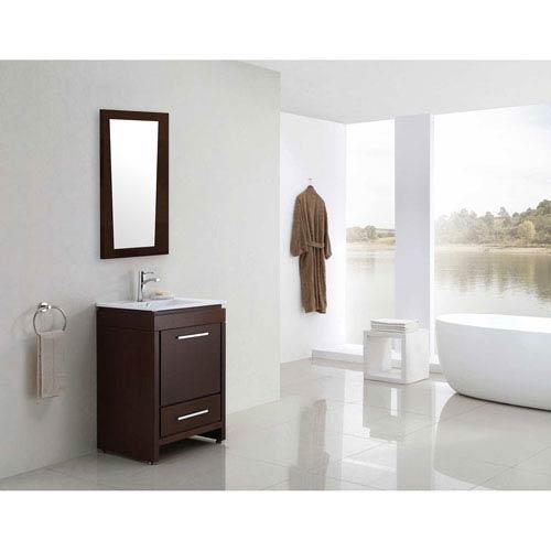 American Imaginations 21.5-in. W X 33.5-in. H Modern Plywood-Melamine Wood Mirror In Wenge