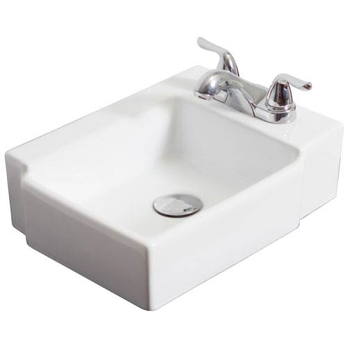 American Imaginations 16.25-in. W Wall Mount White Vessel For 3 Hole 4-in. Right Drilling