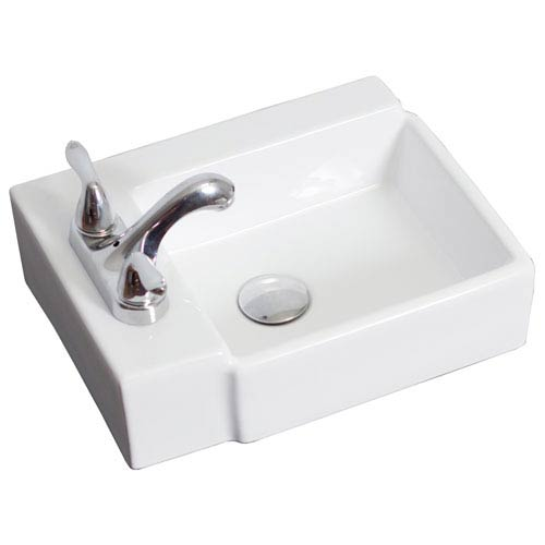 American Imaginations 16.25-in. W Wall Mount White Vessel For 3 Hole 4-in. Left  Drilling
