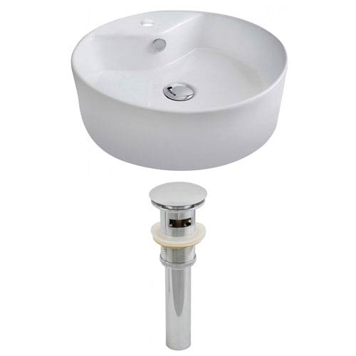 American Imaginations 18.25-in. W Above Counter White Vessel Set For 1 Hole Center Faucet