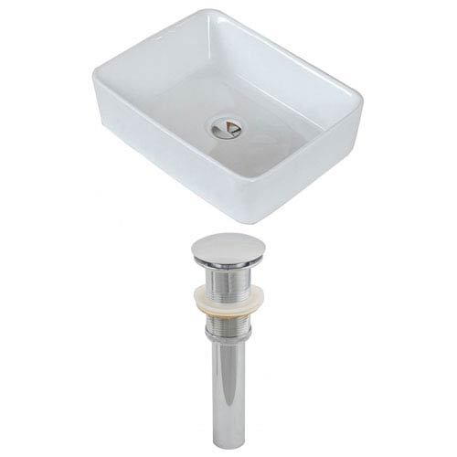 American Imaginations 18.75-in. W Above Counter White Vessel Set For Deck Mount Drilling
