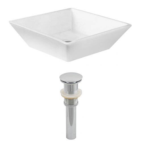 American Imaginations 15.75-in. W Above Counter White Vessel Set For Deck Mount Drilling
