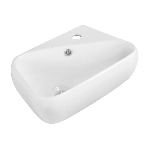 American Imaginations 17.5-in. W Above Counter White Vessel Set For 1 Hole Right Faucet