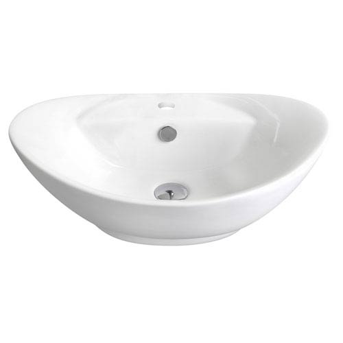 American Imaginations 23-in. W Above Counter White Vessel Set For 1 Hole Center Faucet - Faucet Included