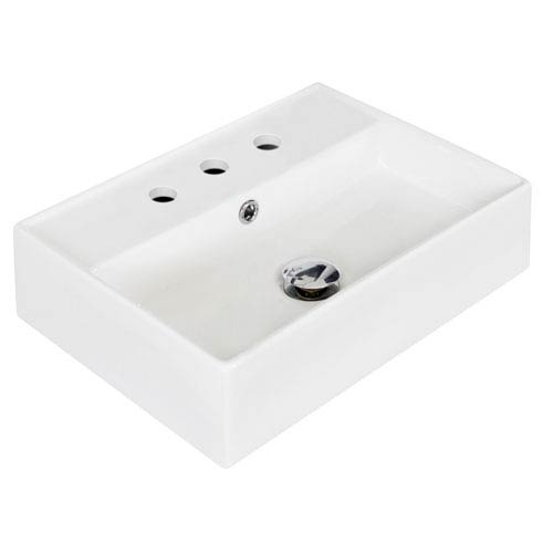 American Imaginations 19.75-in. W Wall Mount White Vessel Set For 3 Hole 8-in. Center Faucet - Faucet Included