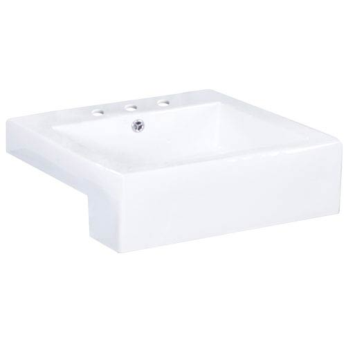 20.25-in. W Semi-Recessed White Vessel Set For 3 Hole 8-in. Center Faucet - Faucet Included
