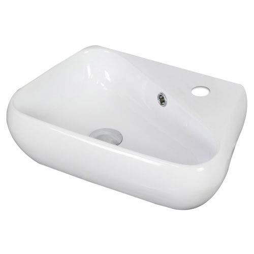 American Imaginations 17.5-in. W Above Counter White Vessel Set For 1 Hole Right Faucet - Faucet Included