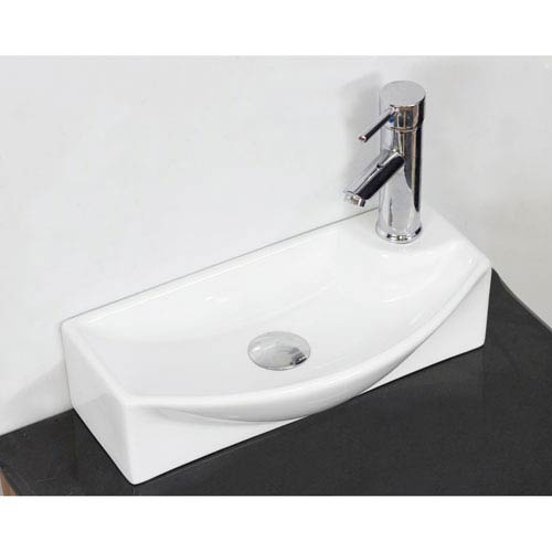 American Imaginations 17.75-in. W Above Counter White Vessel For 1 Hole Right Drilling