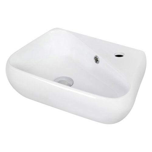 American Imaginations 17.5-in. W Wall Mount White Vessel Set For 1 Hole Right Faucet - Faucet Included
