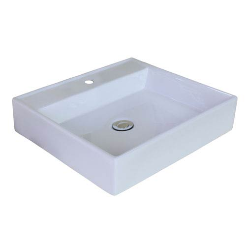 American Imaginations 17-in. W Above Counter White Vessel Set For 1 Hole Center Faucet - Faucet Included