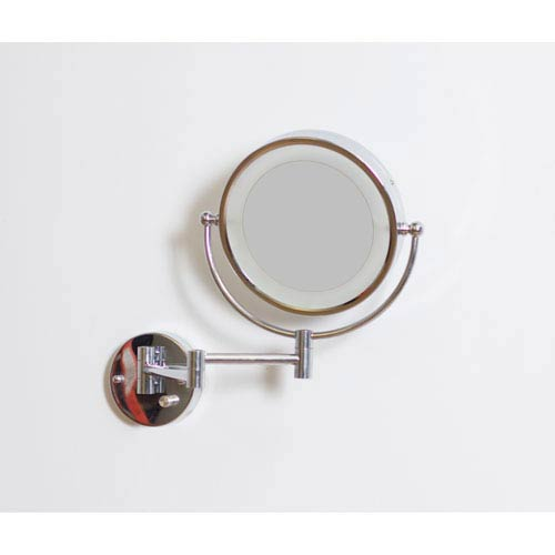 20.83-in. W Round Brass-LED Wall Mount Magnifying Mirror In Chrome Color