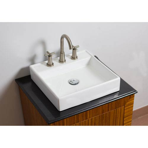 American Imaginations 17.5-in. W Above Counter White Vessel For 3 Hole 8-in. Center Drilling